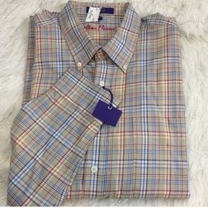 NWT Alan Flusser plaid long sleeve shirt rainbow